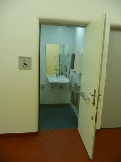 Rollstuhl-WC RAI-E-117: Rollstuhl-WC von aussen. Die Tür lässt sich nur soweit öffnen, wie auf dem Bild zu sehen ist.